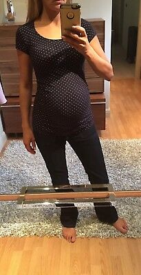 H&M Maternity T-shirt Navy With White Spots Size XS