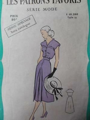 Vintage original retro 1950s French yoked dress  front pleats sewing patterns