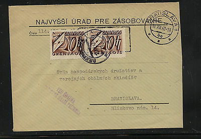 Slovakia  postage due stamps on cover   1942       KL0706
