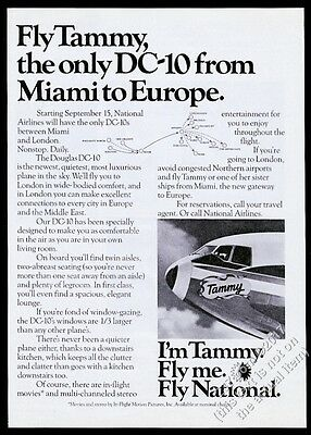 1973 National Airlines plane photo I'm Tammy Fly Me vintage print ad