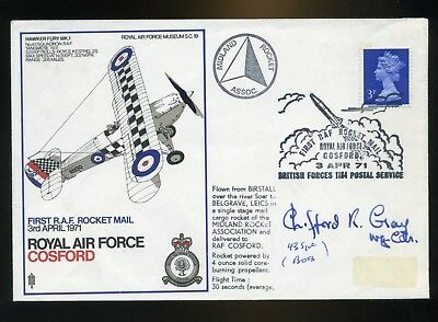 1971 Rocket Mail   RAF Cover Signed   C Gray 43 Sqn Battle of Britain