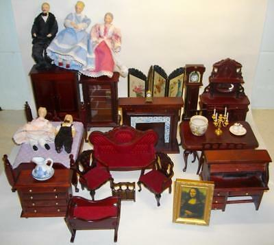 Victorian Style Mahogany Dolls House Furniture 1:12 Scale & Dolls Nice Job Lot