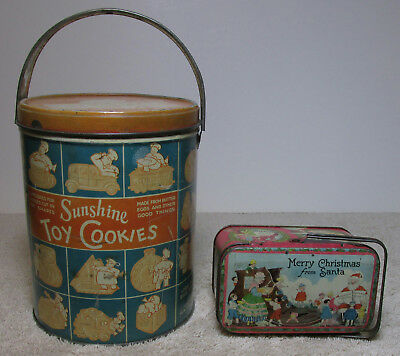 2 Antique Tin Cookie Can And A Santa Candy Tin !!!