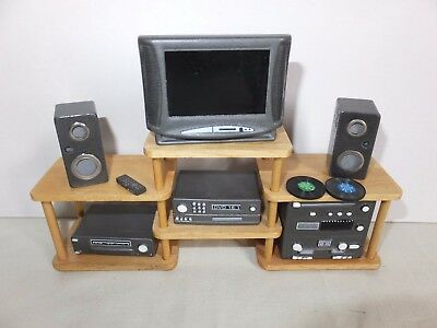 Dolls House Lounge Furniture - Tv & Hifi Stereo Set With Stand