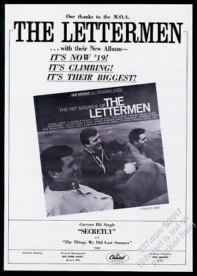 1965 The Lettermen photo Hit Sounds record release trade print ad
