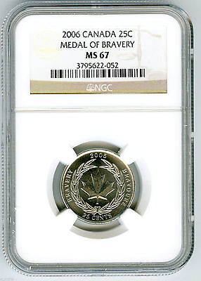 2006 Canada 25 Cent Ngc Ms67 Medal Of Bravery Quarter Certified - Rare