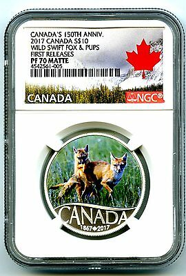 2017 $10 Canada 150Th Silver Proof Ngc Pf70 Wild Swift Fox & Pups First Releases