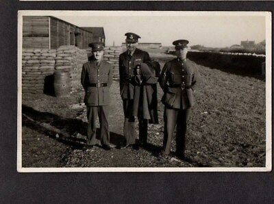 Ww2 R.a.f.pilot Officer With Two Army Officers.unknown Airfield.b&w Photo Pc.