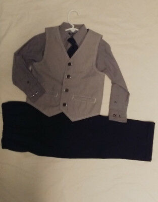 Boys Sz 5 Gray Pinstripe Suit Vest, Shirt, Pants, Tie