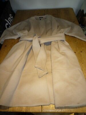 Exquisite ISABELLA OLIVER Natural Stone Pure Wool Belted Coat, Maternity, 4, 14