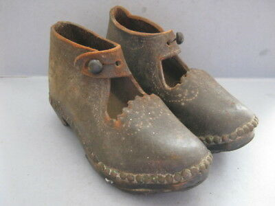 Victorian Pair of Leather & Wood Childrens Clogs / Shoes c1870-1900 - Never Worn