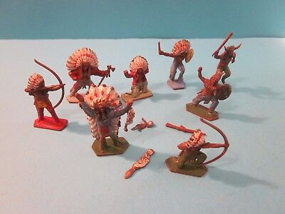 Lone Star, Vintage Plastic. 8 Indians. Used Condition. Some incomplete.