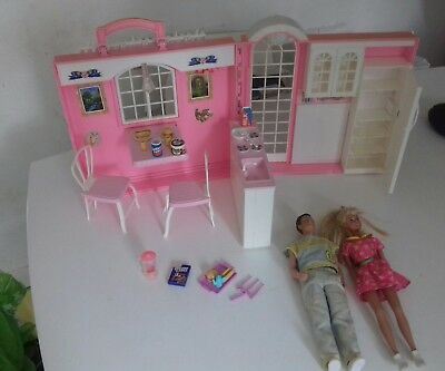 Vintage Barbie Magic/Country Kitchen Folding Dolls House. Accessories + bike