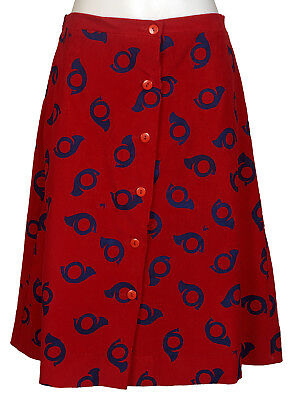 Vintage Wee Vested Gentress Skirt Girls 12 Red Corduroy Blue Horn  Petite Woman