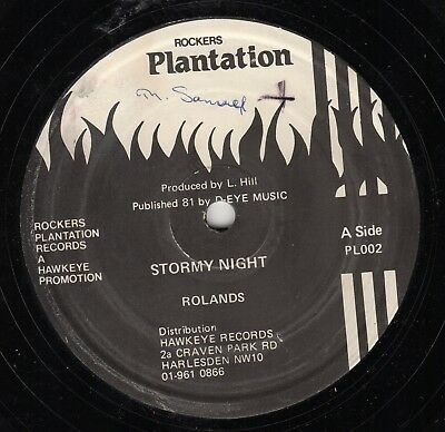 """"""" STORMY NIGHT."""" the rolands. ROCKERS PLANTATION 12in 1981."""