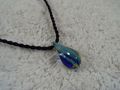 Black Cord Blue Glass Teardrop Pendant Necklace (C19)