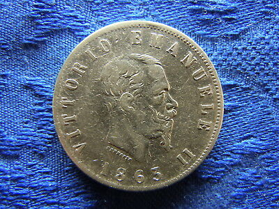 ITALY 2 LIRE 1863 N BN, KM6a.1 cleaned