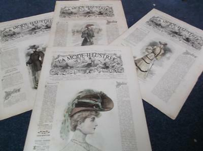 Lot of 4 French womens fashions vintage 1900s Edwardian mode illustree magazines