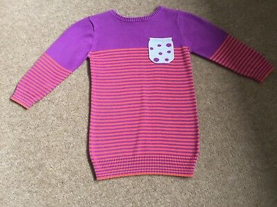 """Girls Lovely Next """"spots And Stripes"""" Detailed Jumper Dress Age 18 - 24 Months"""