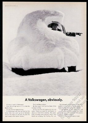 1961 VW Beetle classic snow covered car photo Volkswagen 11x8 vintage print ad