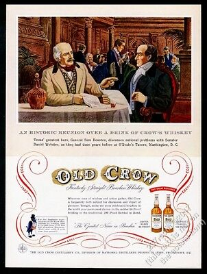 1955 Sam Houston Daniel Webster art Old Crow Bourbon whiskey vintage print ad