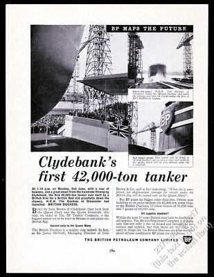 1958 BP British Dutchess oil tanker launch photo vintage print ad