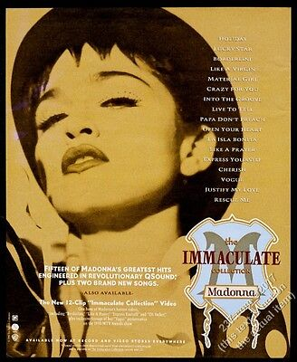 1990 Madonna photo The Immaculate Collection vintage print ad
