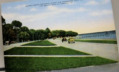 Mississippi MS Gulf Coast Double Beach Driveway Postcard Old Vintage Card View