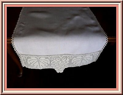 Fabulous Antique Pure Linen Table Runner With Wide Hand Crocheted Lace Trim