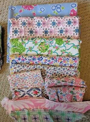Variety of Vintage Printed Feed Sack Fabric Cloth Lot 1 Pound# Total Flowers ETC