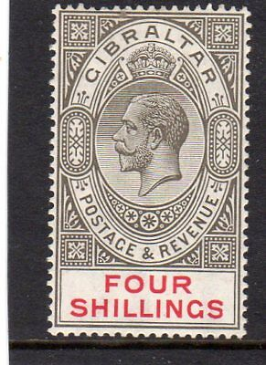 Gibraltar 1924 George V  4s black & carmine SG.100  LIGHTLY Mint Hinged