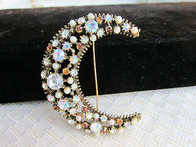 Vintage AB Opalescent Amber Rhinestone Faux Pearl Crescent Pin Brooch No Reserve
