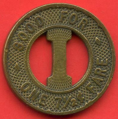 "Vintage International Railway Fare Token ""Good For One 7 1/2 Cent Fare"" 20mm Dia"