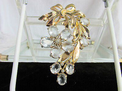 """Vintage Art Deco Large Clear Czech Glass Stone Cascading Floral Brooch Pin 3.5"""""""