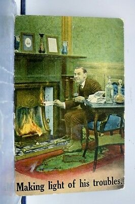 Comic Cartoon Making Light of His Troubles Postcard Old Vintage Card View Post