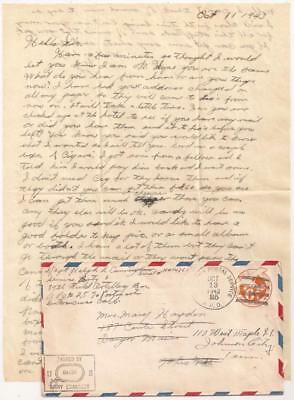 WWII Letter. New Georgia 1943. Killed in Action, 1945. 25th Infantry Division.