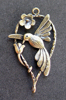 Hummingbird Flower Gold Brass Pendant Charm Jewelry Estate Sale vintage style