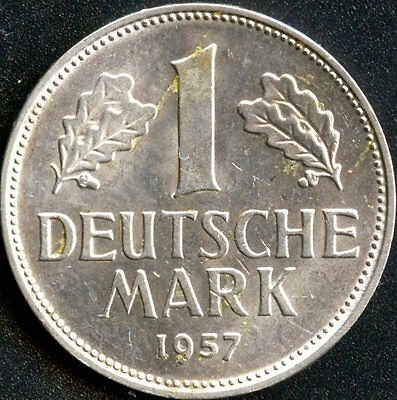 Germany 1957 'F' 1 Mark Coin Extremley Nice Coin