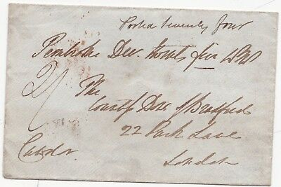 1838 Pembroke Wrongly Dated Free Frank Cost 2/- Postage Wales To London Envelope