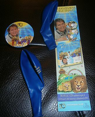 CLIFF RICHARD Two promotional balloons, bookmark & badge NEW