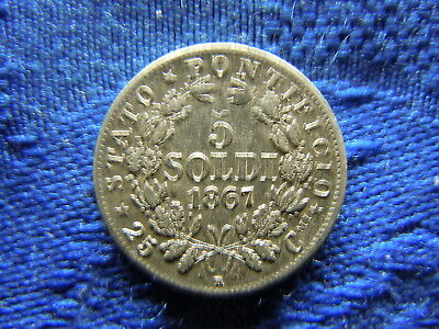 Vatican Papal State 5 Soldi 1867, Km1375