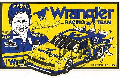 RARE! Dale Earnhardt autographed 1986 WRANGLER STICKER #3 CHEVY HALL OF FAMER