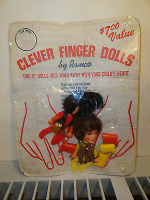 1968 Remco The Monkees Davey Jones & Mickey Dolenz Finger Ding Dolls In Package