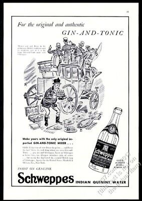 1941 Schweppes Quinine Water gin and tonic picnic theme art vintage print ad