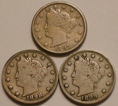 1897, 1898 & 1899 Liberty V Nickels nice Original FULL DETAIL Full Liberty