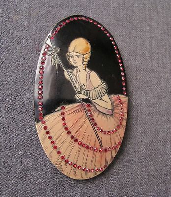 Antique Ruby Colour Crystals Hand Painted & Carved Woman Celluloid Medallion