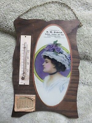 1912 Advertising Calendar/thermometer-Hw Zickrick Farm Implements Howard Sd