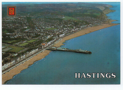 (P2376) Aerial View of Hastings. 1980s Peacock Productions Postcard
