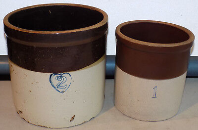 Rare Vintage Lot 2 Stoneware 3 Color Brown Tan Crocks 1 & 2 Gallon Salt Glazed