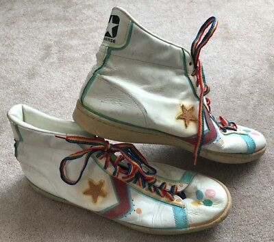 Vintage 1970's CONVERSE All Star White ALL Leather Basketball Shoes Size 17 USA
